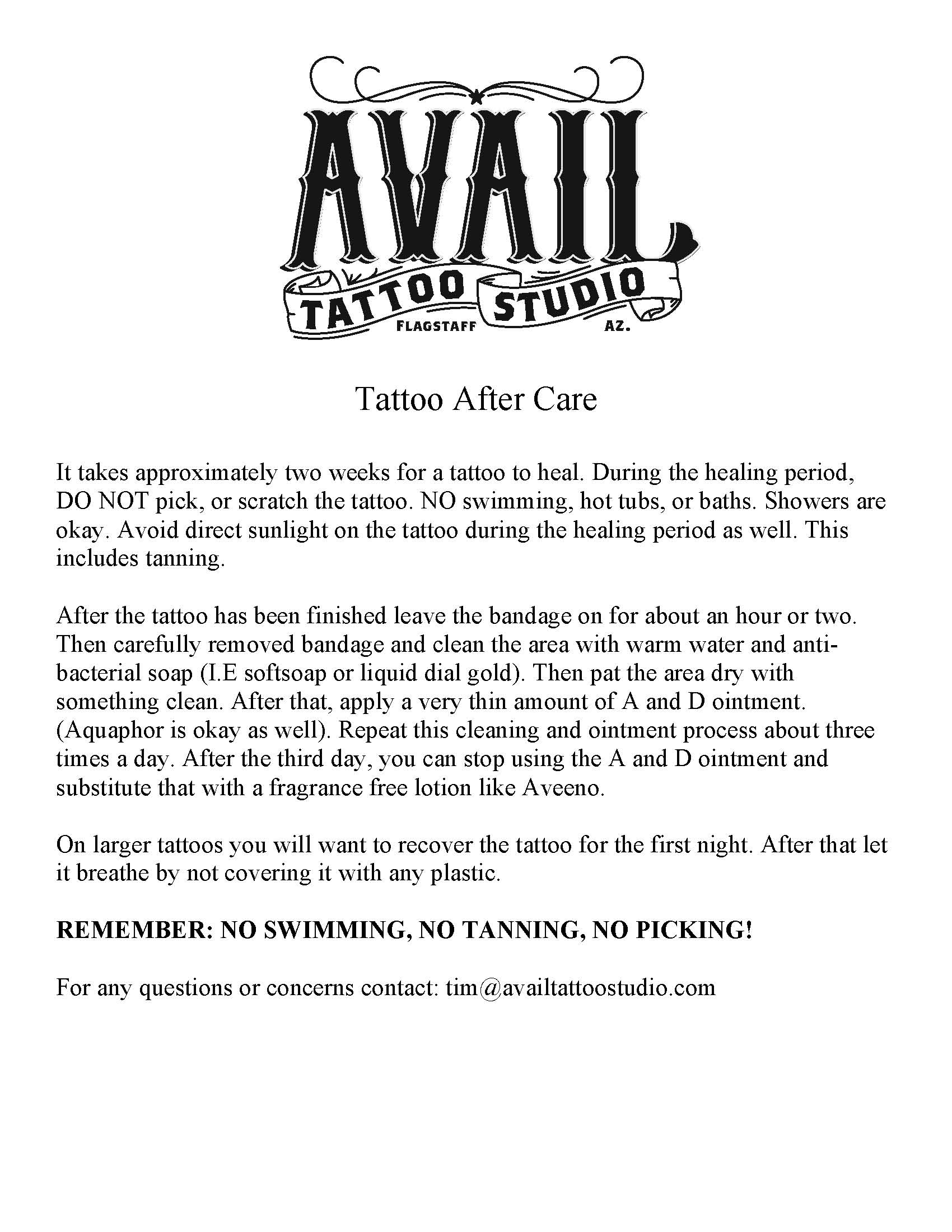 Aftercare Avail Tattoo Studio
